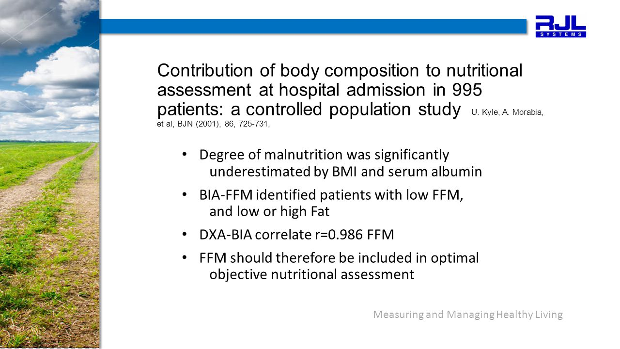 Contribution of body composition to nutritional assessment at hospital admission in 995 patients: a controlled population study U. Kyle, A. Morabia, e