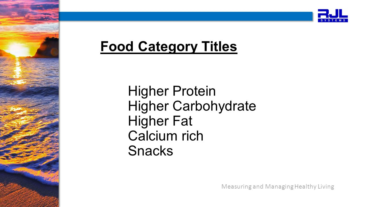 Measuring and Managing Healthy Living Food Category Titles Higher Protein Higher Carbohydrate Higher Fat Calcium rich Snacks