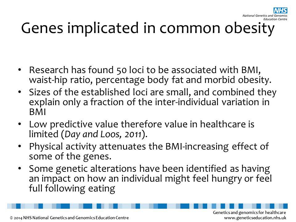 Genetics and genomics for healthcare www.geneticseducation.nhs.uk © 2014 NHS National Genetics and Genomics Education Centre Genes implicated in commo