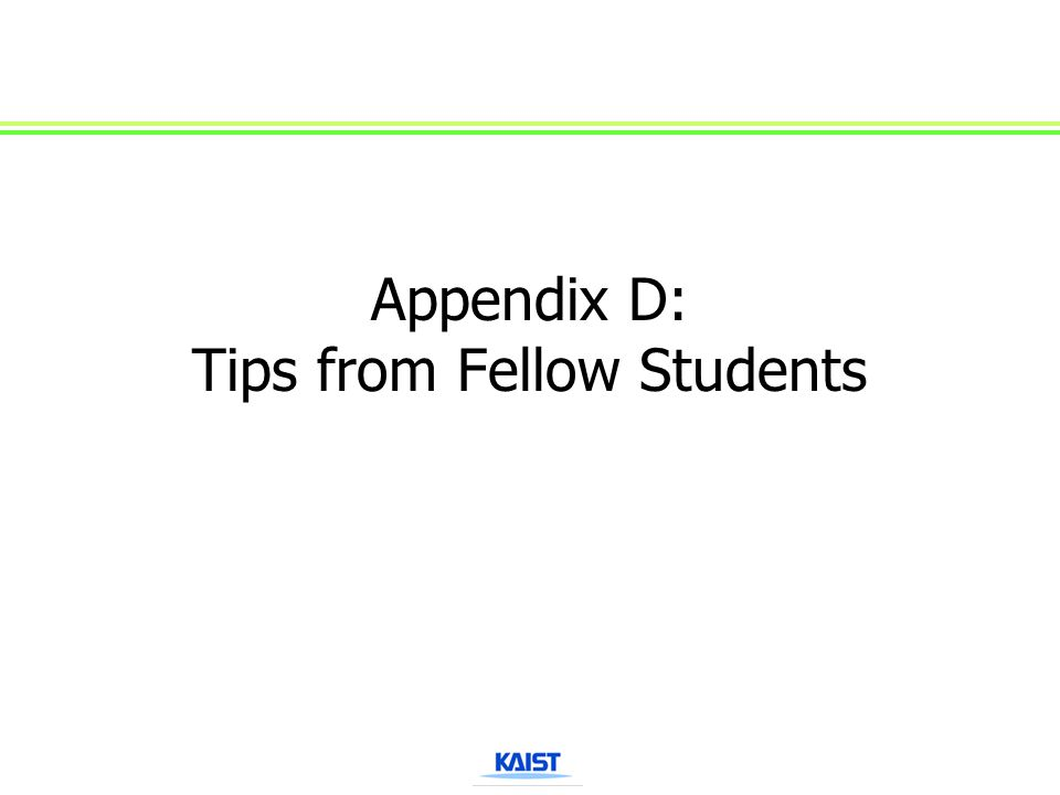 Appendix D: Tips from Fellow Students