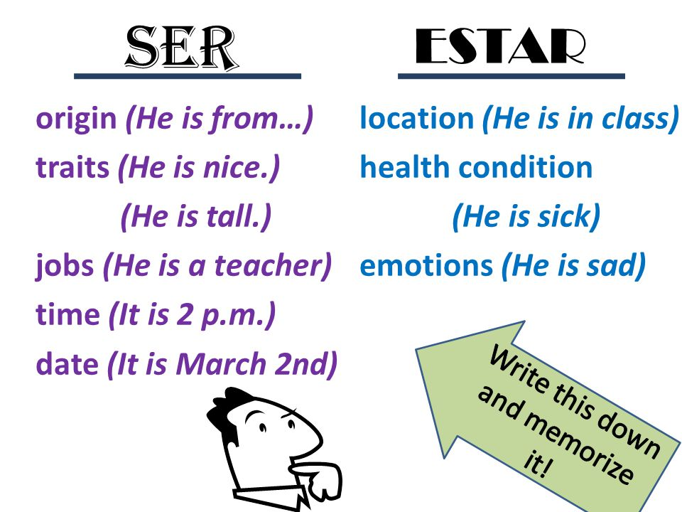 origin (He is from…) traits (He is nice.) jobs (He is a teacher) time (It is 2 p.m.) date (It is March 2nd) location (He is in class) health condition (He is sick) emotions (He is sad) SER ESTAR Yo ______ maestro de francés.