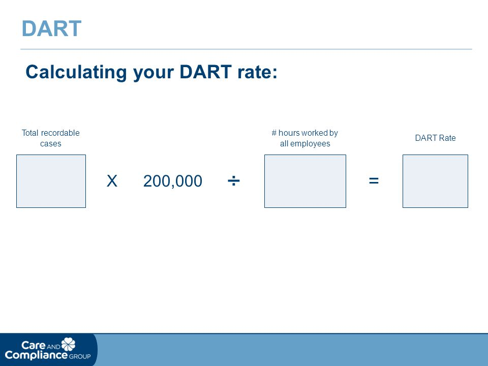 Calculating your DART rate: DART X200,000 ÷ = Total recordable cases # hours worked by all employees DART Rate