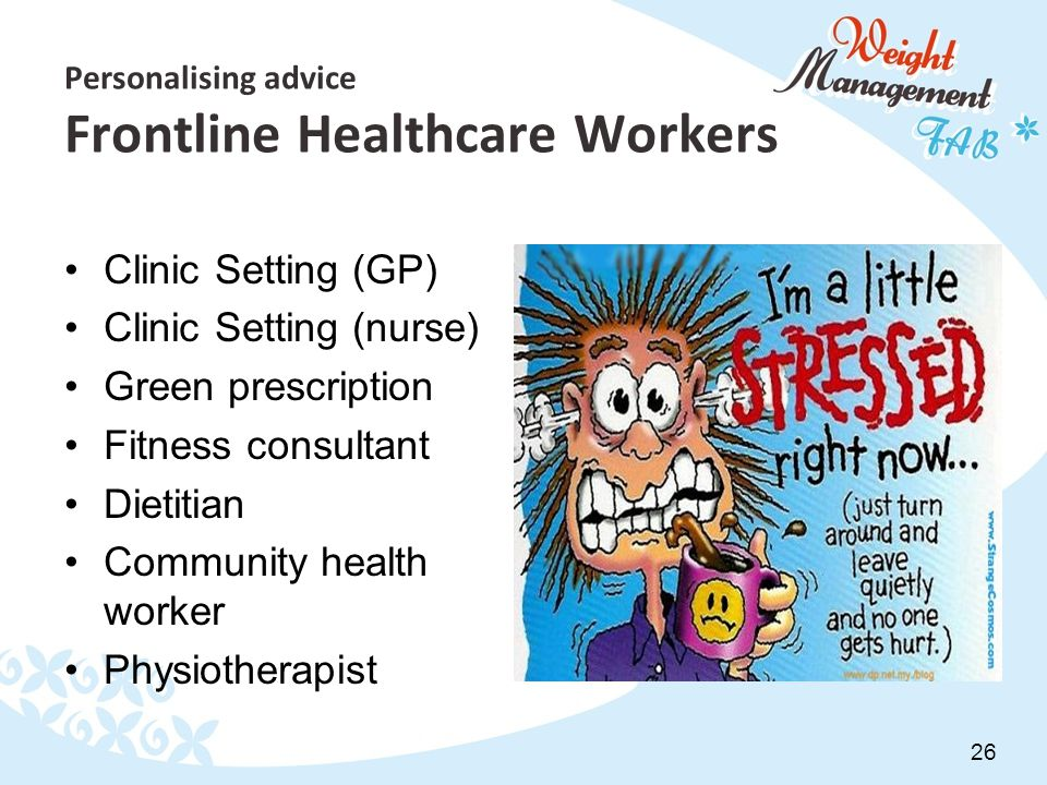 26 Personalising advice Frontline Healthcare Workers Clinic Setting (GP) Clinic Setting (nurse) Green prescription Fitness consultant Dietitian Community health worker Physiotherapist