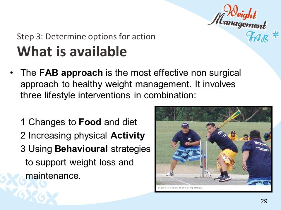 29 Step 3: Determine options for action What is available The FAB approach is the most effective non surgical approach to healthy weight management.