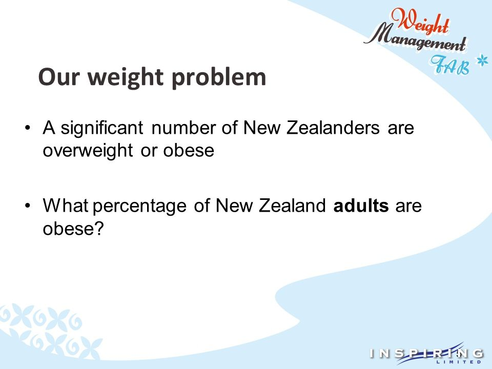 5 A significant number of New Zealanders are overweight or obese What percentage of New Zealand adults are obese?