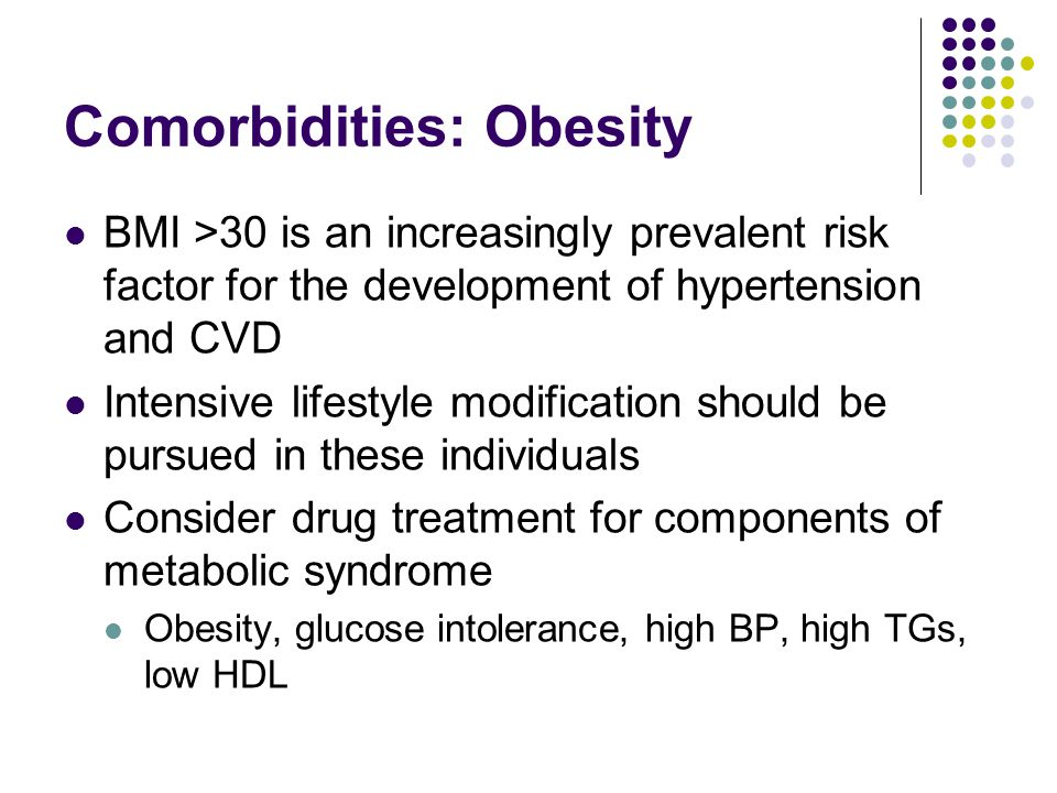 Comorbidities: Obesity BMI >30 is an increasingly prevalent risk factor for the development of hypertension and CVD Intensive lifestyle modification s
