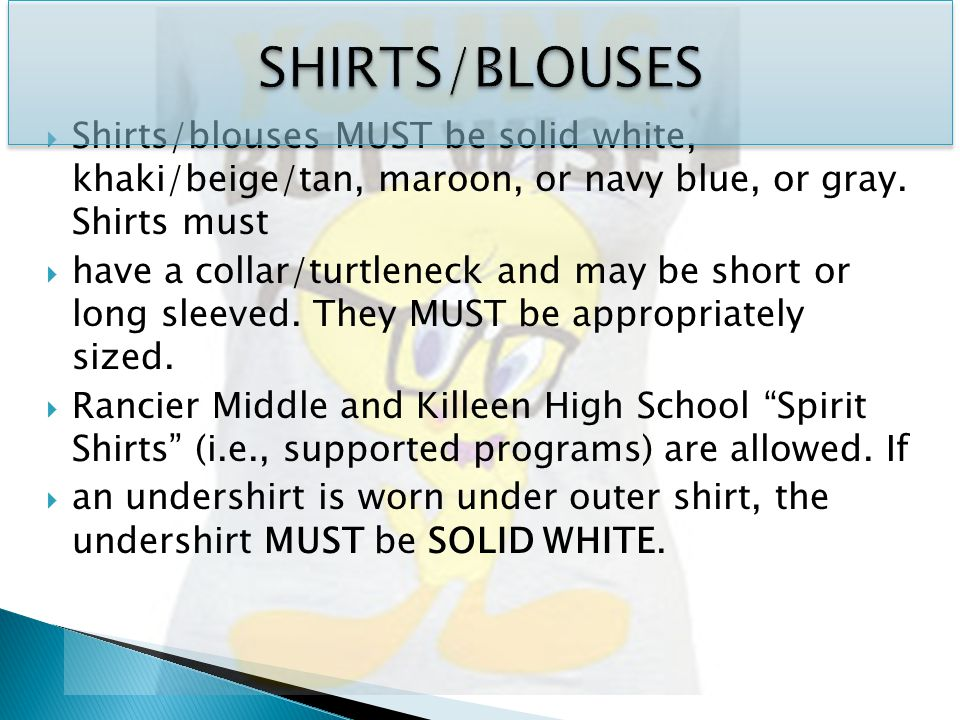  Shirts/blouses MUST be solid white, khaki/beige/tan, maroon, or navy blue, or gray.