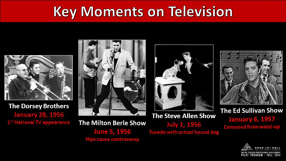 The Milton Berle Show June 5, 1956 Hips cause controversy The Steve Allen Show July 1, 1956 Tuxedo with actual hound dog The Ed Sullivan Show January 6, 1957 Censored from waist-up The Dorsey Brothers January 28, 1956 1 st National TV appearance