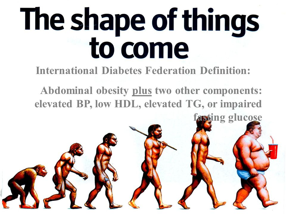 International Diabetes Federation Definition: Abdominal obesity plus two other components: elevated BP, low HDL, elevated TG, or impaired fasting glucose