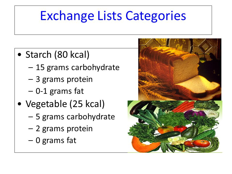 Exchange Lists Categories Starch (80 kcal) –15 grams carbohydrate –3 grams protein –0-1 grams fat Vegetable (25 kcal) –5 grams carbohydrate –2 grams p
