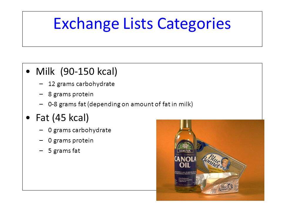 Exchange Lists Categories Milk (90-150 kcal) –12 grams carbohydrate –8 grams protein –0-8 grams fat (depending on amount of fat in milk) Fat (45 kcal)