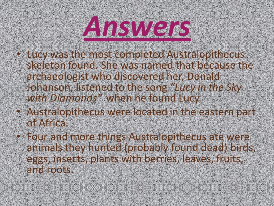Questions Who was Lucy Where were Australopithecus located Name four things Australopithecus ate.