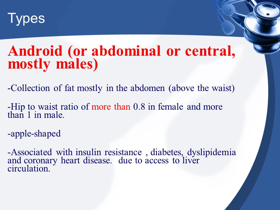 Types Android (or abdominal or central, mostly males) -Collection of fat mostly in the abdomen (above the waist) -Hip to waist ratio of more than 0.8
