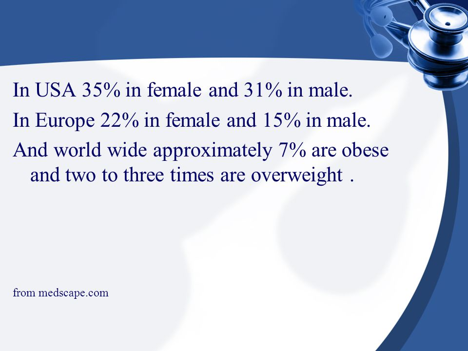 In USA 35% in female and 31% in male. In Europe 22% in female and 15% in male. And world wide approximately 7% are obese and two to three times are ov