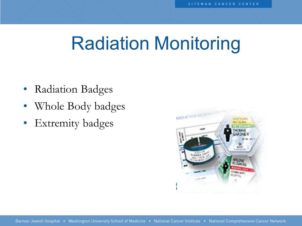 Radiation Monitoring Radiation Badges Whole Body badges Extremity badges