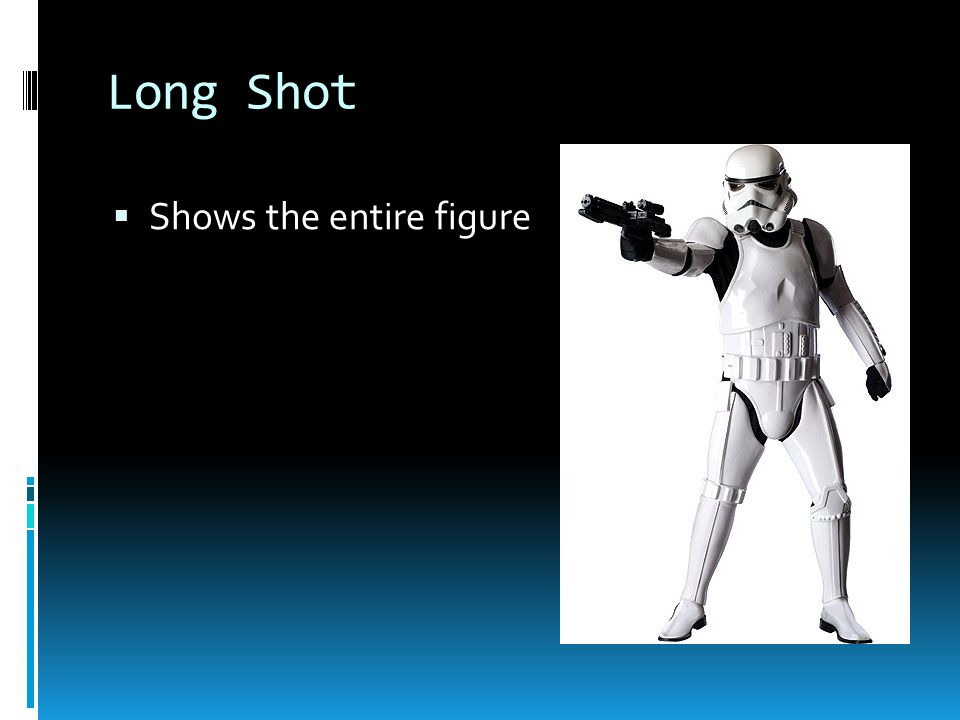 Long Shot  Shows the entire figure