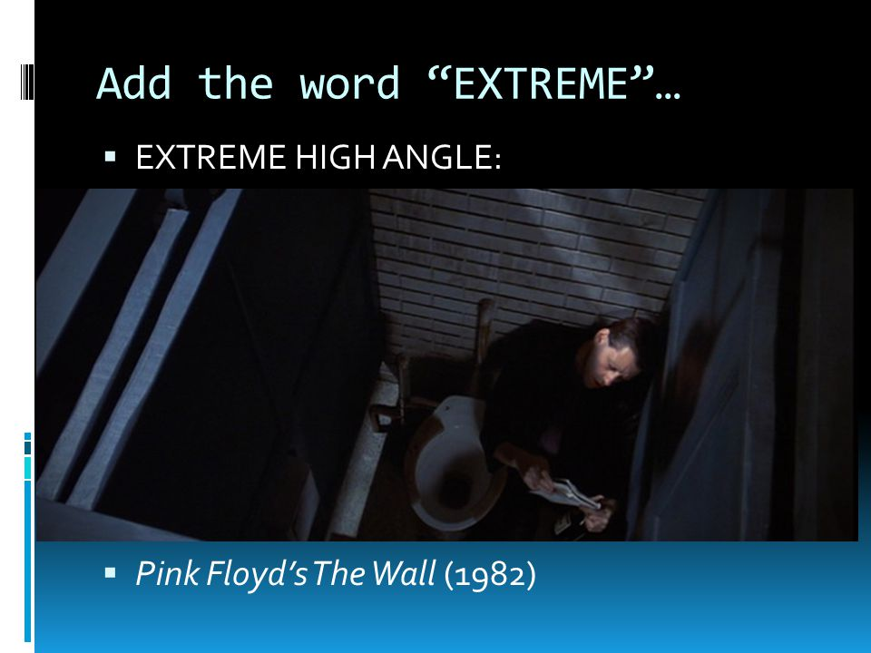 Add the word EXTREME …  EXTREME HIGH ANGLE:  Pink Floyd's The Wall (1982)