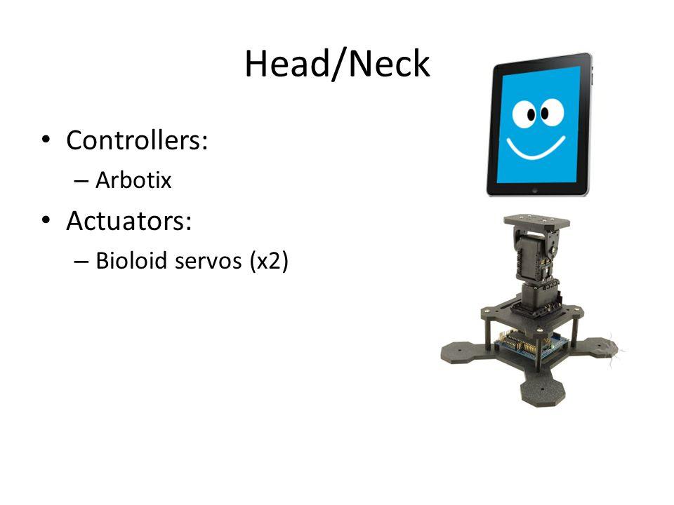 Head/Neck Controllers: – Arbotix Actuators: – Bioloid servos (x2)