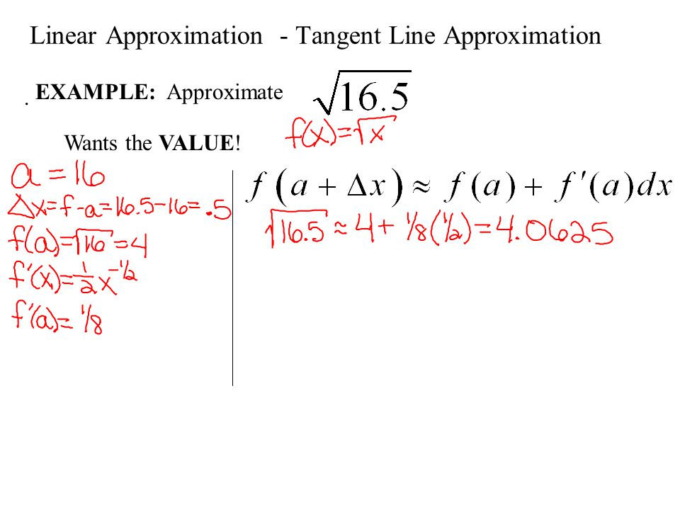 Linear Approximation - Tangent Line Approximation. EXAMPLE: Approximate Wants the VALUE!