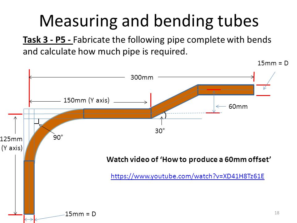 Measuring and bending tubes Task 3 - P5 - Fabricate the following pipe complete with bends and calculate how much pipe is required. Watch video of 'Ho
