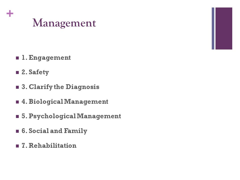 + Management 1. Engagement 2. Safety 3. Clarify the Diagnosis 4.