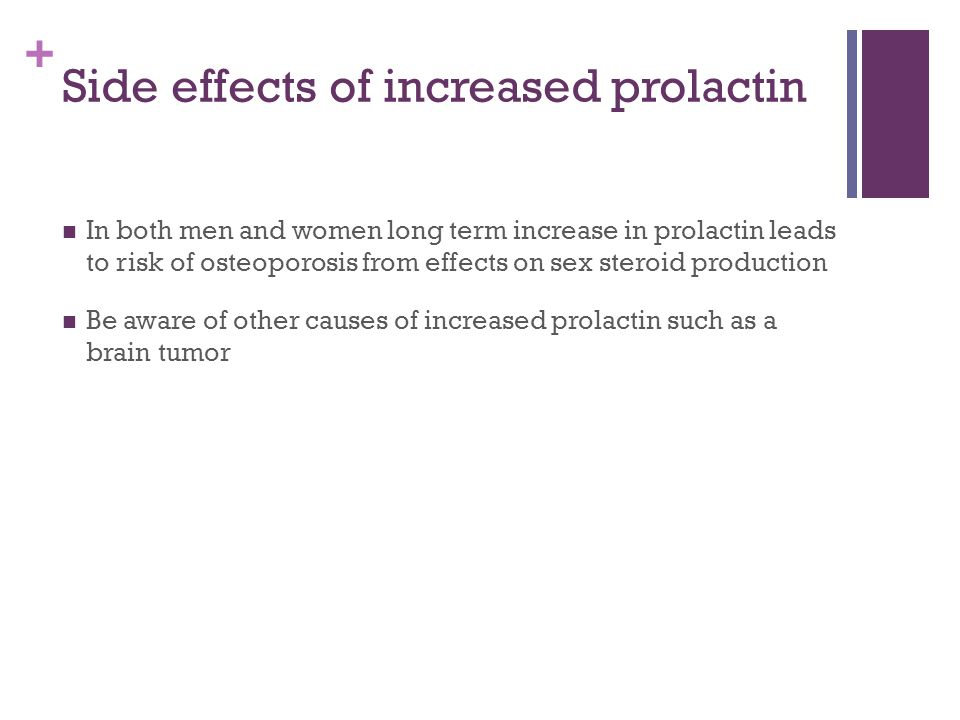 + Side effects of increased prolactin In both men and women long term increase in prolactin leads to risk of osteoporosis from effects on sex steroid production Be aware of other causes of increased prolactin such as a brain tumor
