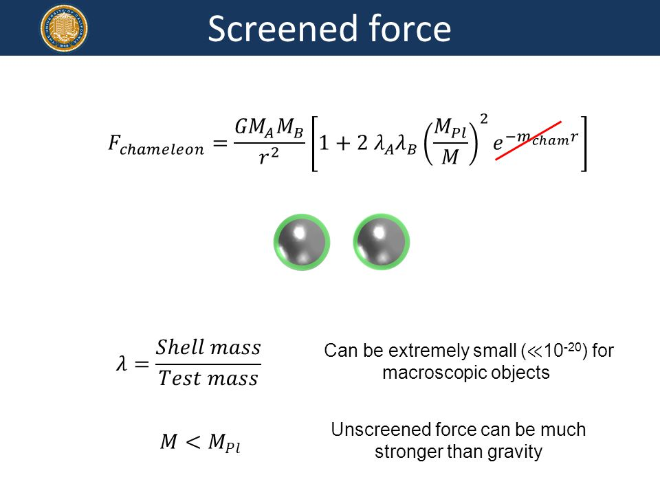 Screened force Unscreened force can be much stronger than gravity