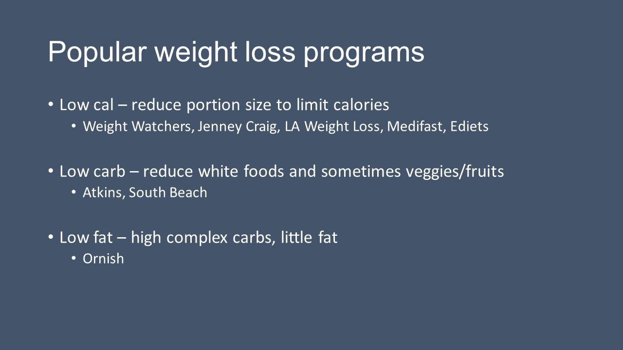 Popular weight loss programs Low cal – reduce portion size to limit calories Weight Watchers, Jenney Craig, LA Weight Loss, Medifast, Ediets Low carb – reduce white foods and sometimes veggies/fruits Atkins, South Beach Low fat – high complex carbs, little fat Ornish