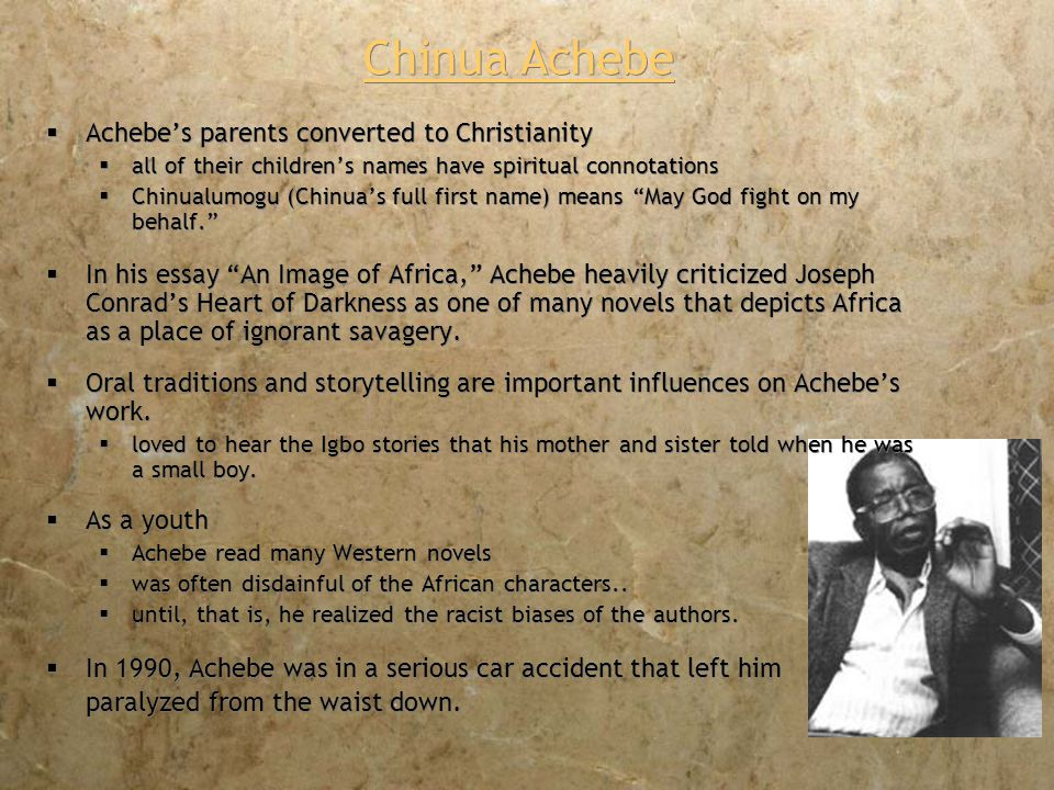 an image of africa racism in conrads heart of darkness essay An image of africa: racism in conrad's heart of darkness  chinua achebe's novel, things fall apart, is a novel about a character on the inside looking out, whereas.