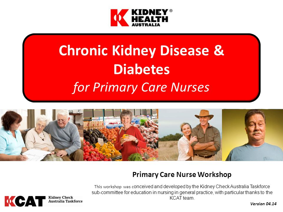 Primary Care Nurse Workshop This workshop was c onceived and developed by the Kidney Check Australia Taskforce sub-committee for education in nursing