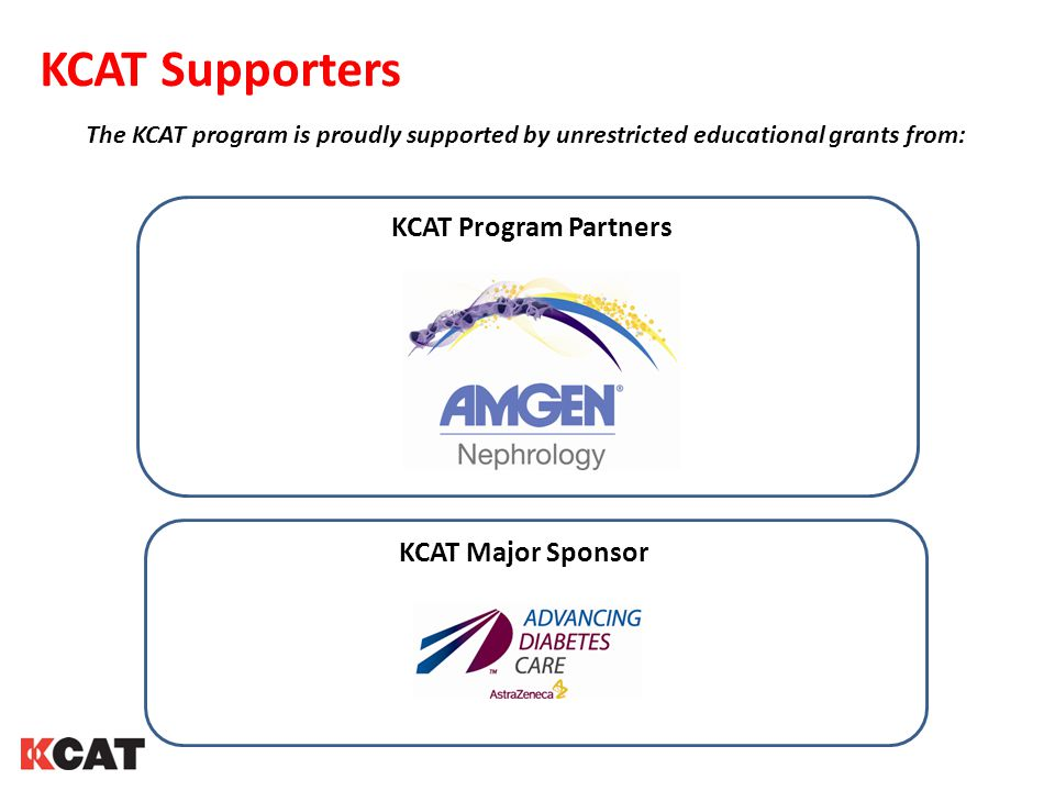 KCAT Supporters The KCAT program is proudly supported by unrestricted educational grants from: KCAT Program Partners KCAT Major Sponsor