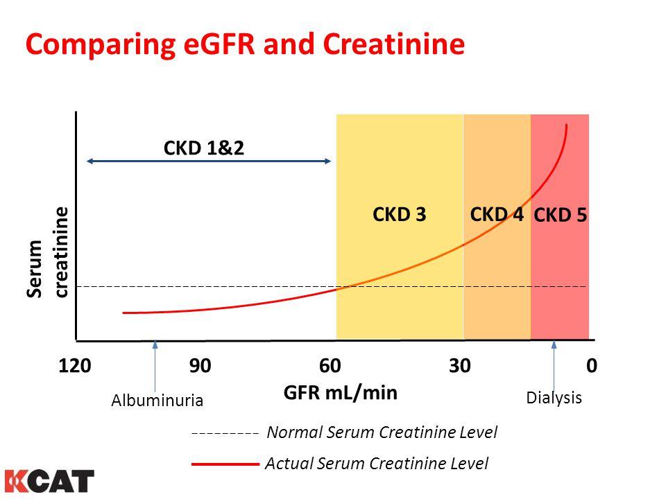 Comparing eGFR and Creatinine CKD 1&2 CKD 5 CKD 4 CKD 3 GFR mL/min 1209060300 Serum creatinine Normal Serum Creatinine Level Actual Serum Creatinine L
