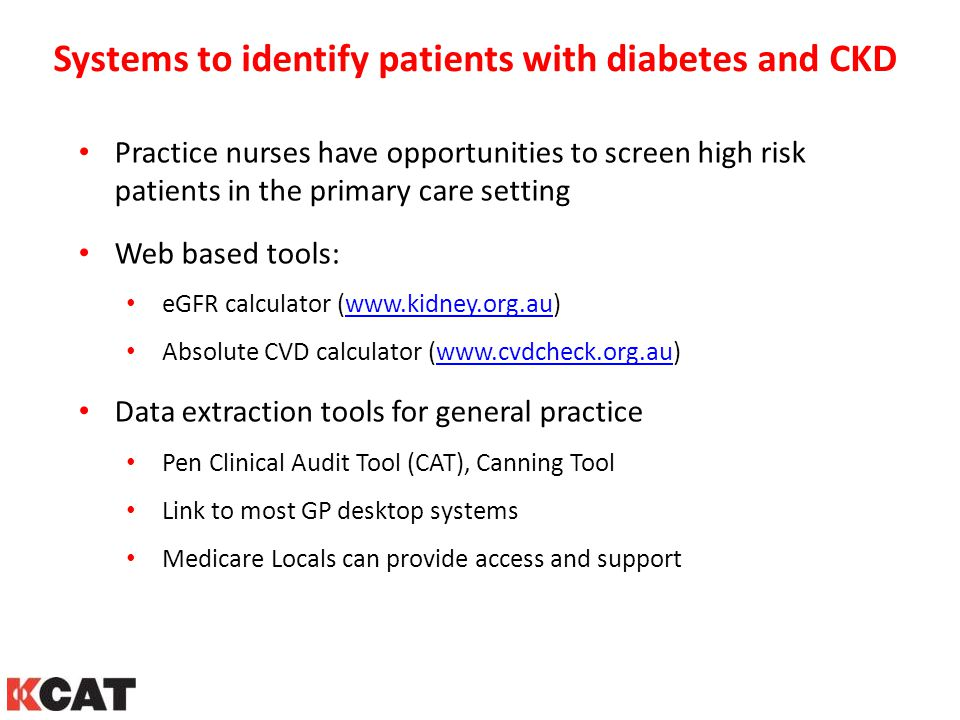 Systems to identify patients with diabetes and CKD Practice nurses have opportunities to screen high risk patients in the primary care setting Web bas