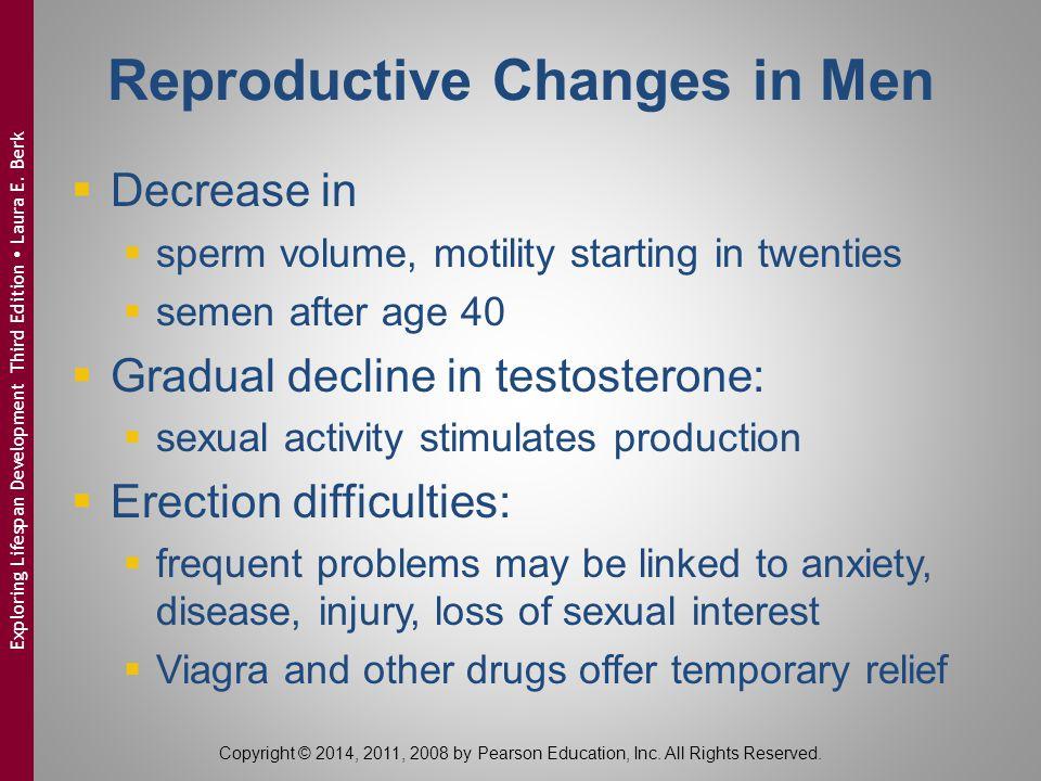 Reproductive Changes in Men  Decrease in  sperm volume, motility starting in twenties  semen after age 40  Gradual decline in testosterone:  sexu