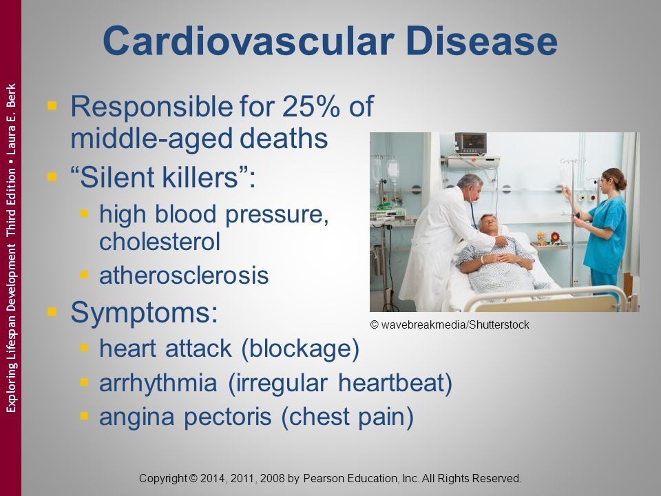 """Cardiovascular Disease  Responsible for 25% of middle-aged deaths  """"Silent killers"""":  high blood pressure, cholesterol  atherosclerosis  Symptoms"""