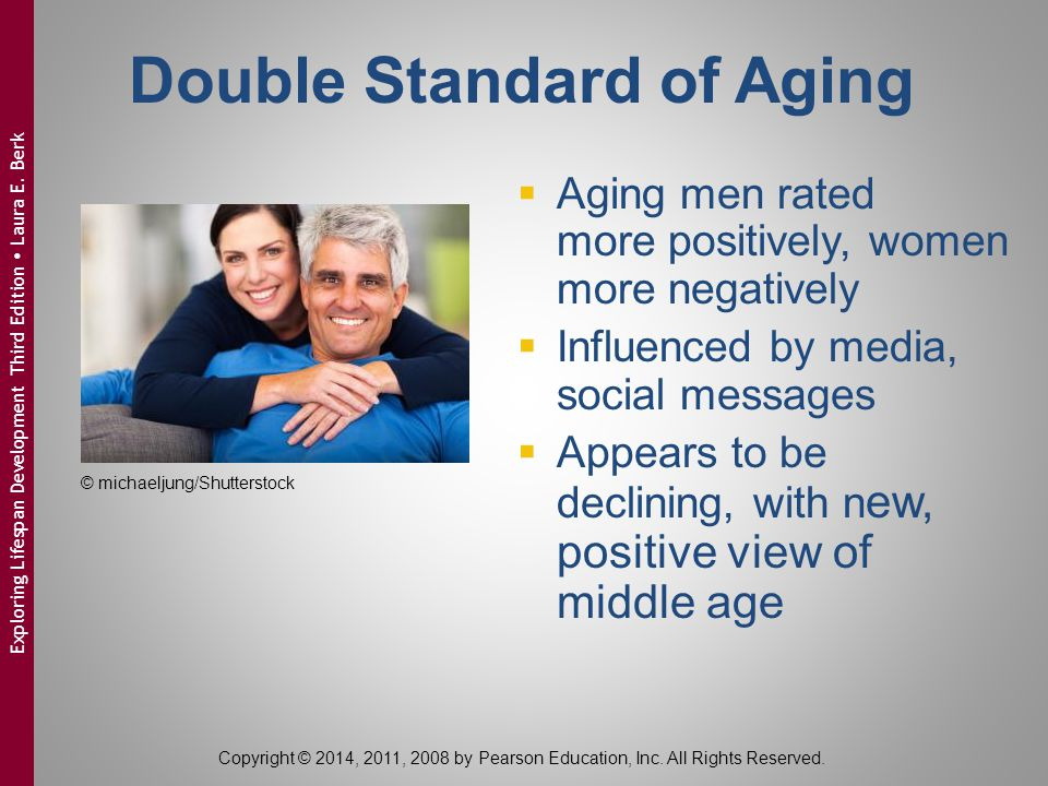 Double Standard of Aging  Aging men rated more positively, women more negatively  Influenced by media, social messages  Appears to be declining, wi