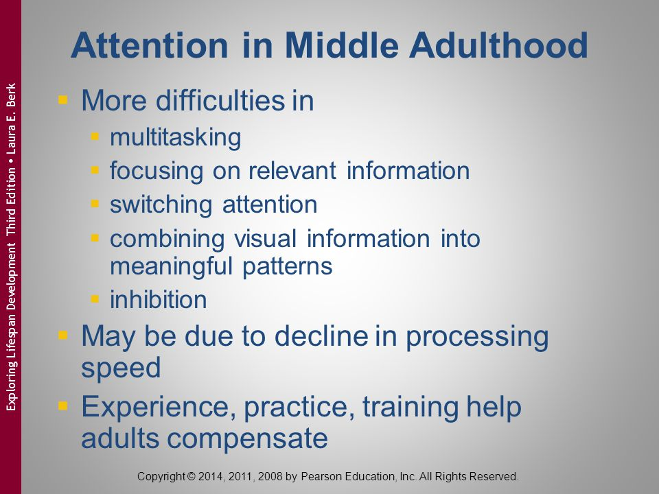 Attention in Middle Adulthood  More difficulties in  multitasking  focusing on relevant information  switching attention  combining visual inform