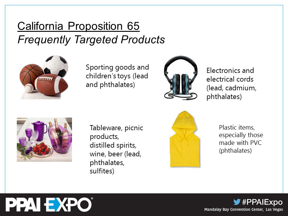 California Proposition 65 Frequently Targeted Products Sporting goods and children's toys (lead and phthalates) Electronics and electrical cords (lead, cadmium, phthalates) Tableware, picnic products, distilled spirits, wine, beer (lead, phthalates, sulfites) Plastic items, especially those made with PVC (phthalates)