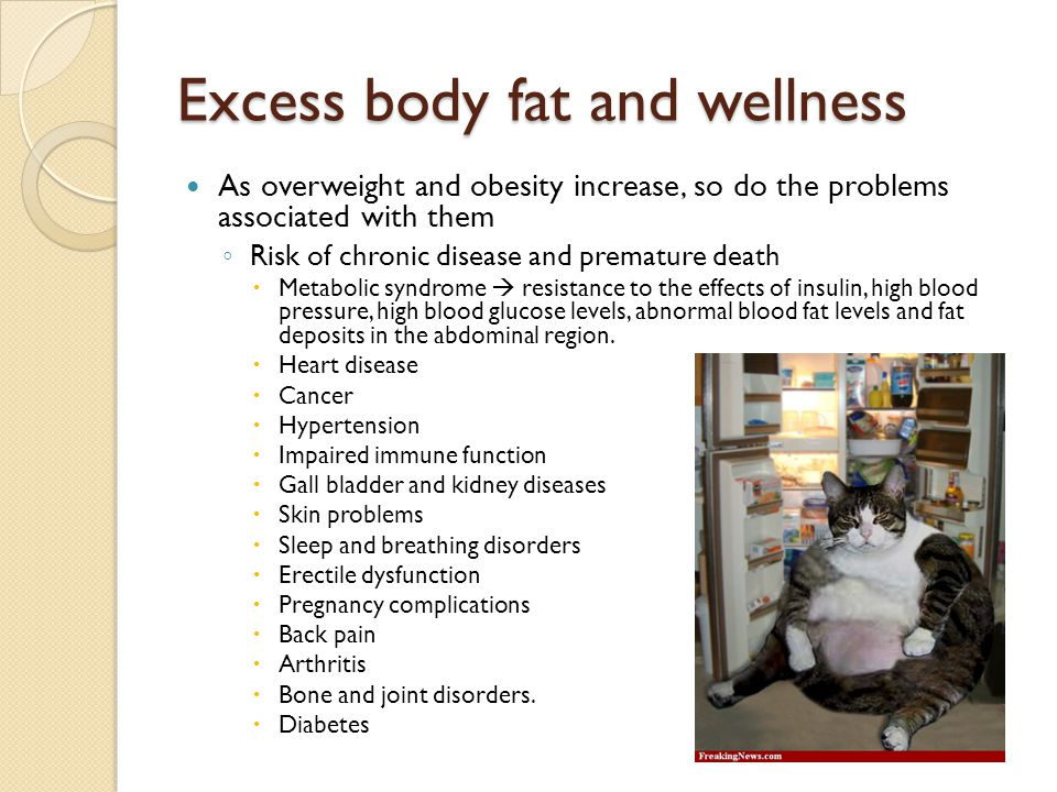 Excess body fat and wellness As overweight and obesity increase, so do the problems associated with them ◦ Risk of chronic disease and premature death