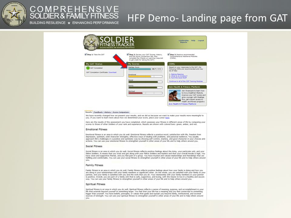 COMPREHENSIVE SOLDIER & FAMILY FITNESS BUILDING RESILIENCEENHANCING PERFORMANCE HFP Demo- Landing page from GAT