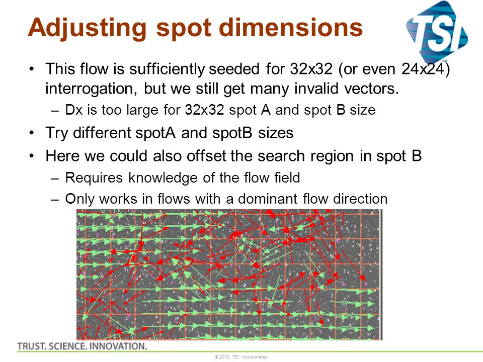 © 2010, TSI Incorporated Adjusting spot dimensions This flow is sufficiently seeded for 32x32 (or even 24x24) interrogation, but we still get many inv