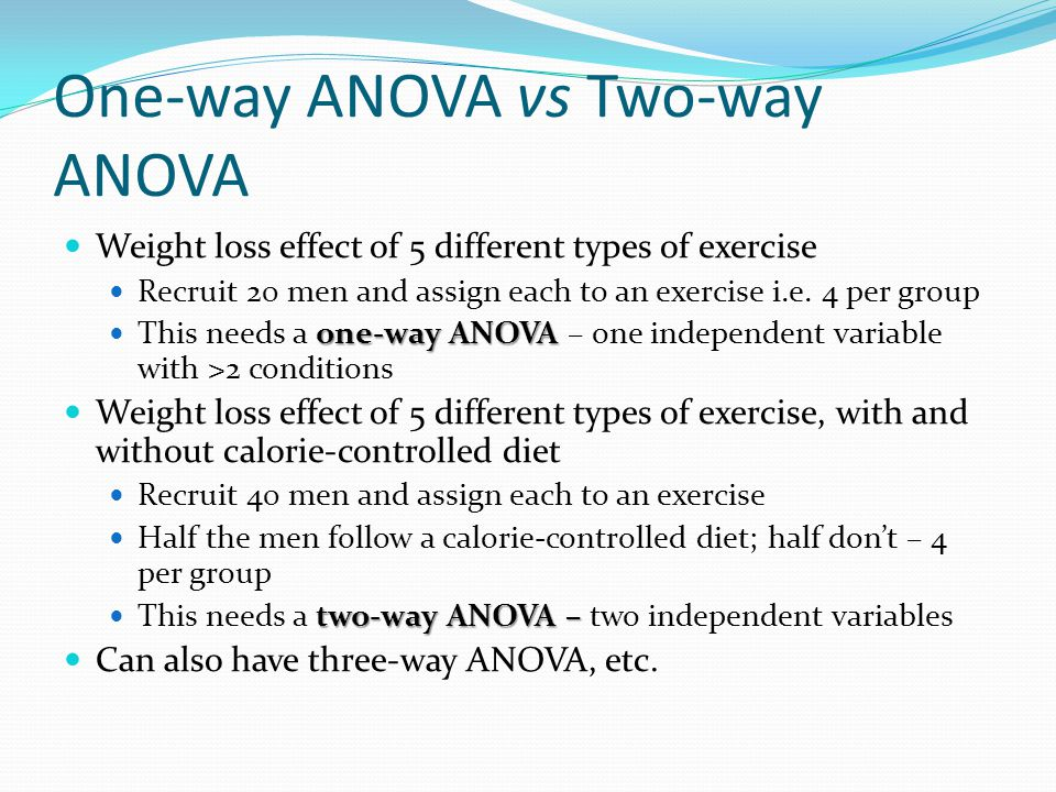 One-way ANOVA vs Two-way ANOVA Weight loss effect of 5 different types of exercise Recruit 20 men and assign each to an exercise i.e.