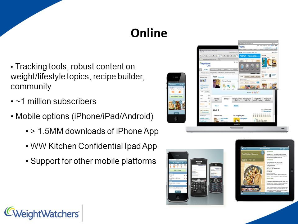 Online Tracking tools, robust content on weight/lifestyle topics, recipe builder, community ~1 million subscribers Mobile options (iPhone/iPad/Android