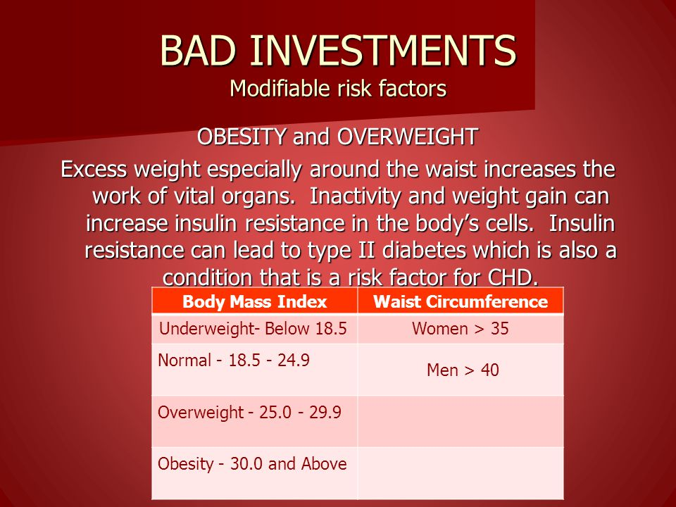 BAD INVESTMENTS Modifiable risk factors Tobacco Use Cigarette smoking promotes hardening and narrowing of the arteries. It increases the levels of blo