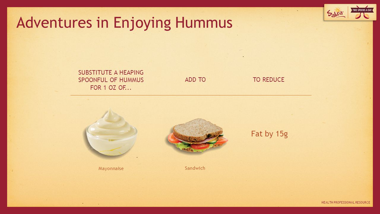 HEALTH PROFESSIONAL RESOURCE Mayonnaise Sandwich SUBSTITUTE A HEAPING SPOONFUL OF HUMMUS FOR 1 OZ OF...