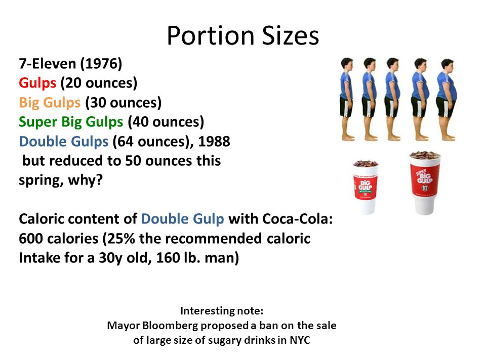 Portion Sizes 7-Eleven (1976) Gulps (20 ounces) Big Gulps (30 ounces) Super Big Gulps (40 ounces) Double Gulps (64 ounces), 1988 but reduced to 50 ounces this spring, why.