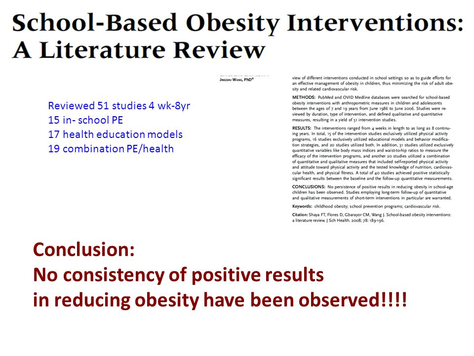 Reviewed 51 studies 4 wk-8yr 15 in- school PE 17 health education models 19 combination PE/health Conclusion: No consistency of positive results in reducing obesity have been observed!!!!