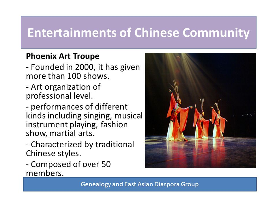 Entertainments of Chinese Community Phoenix Art Troupe - Founded in 2000, it has given more than 100 shows.