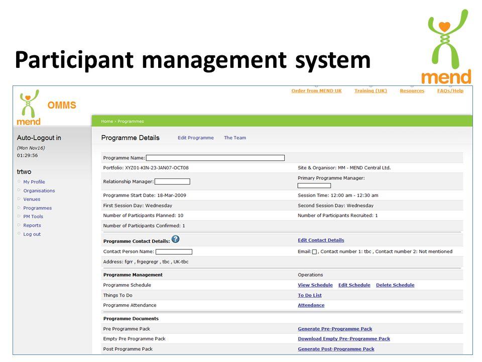 Participant management system