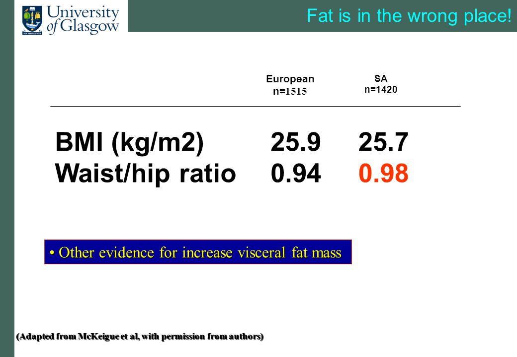 0.980.94Waist/hip ratio 25.725.9BMI (kg/m2) SA n=1420 European n= 1515 Fat is in the wrong place.